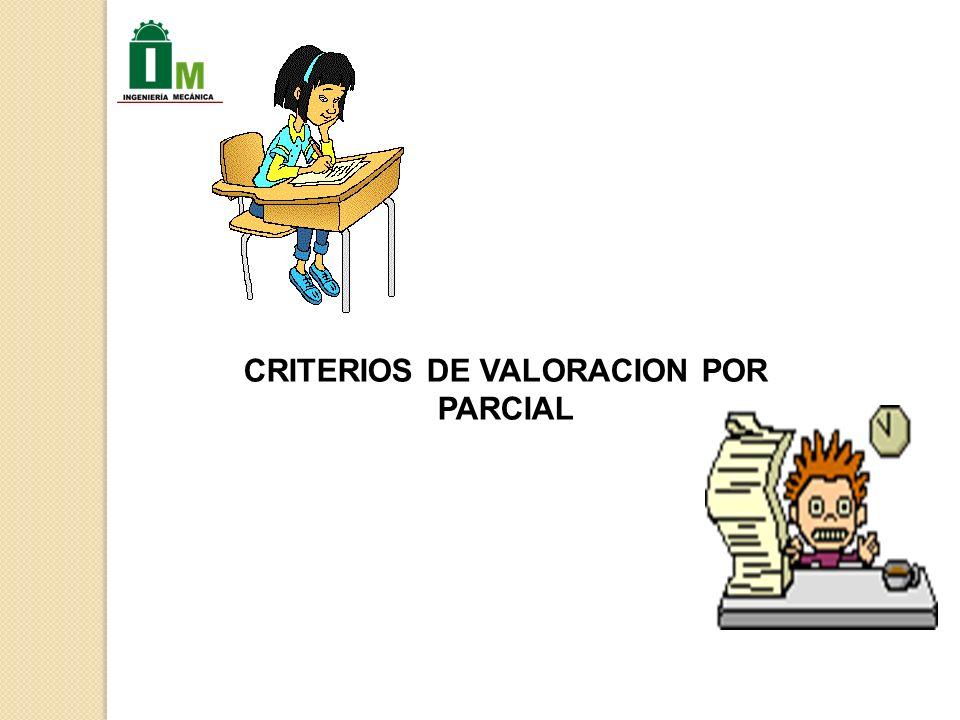 CRITERIOS DE VALORACION POR PARCIAL