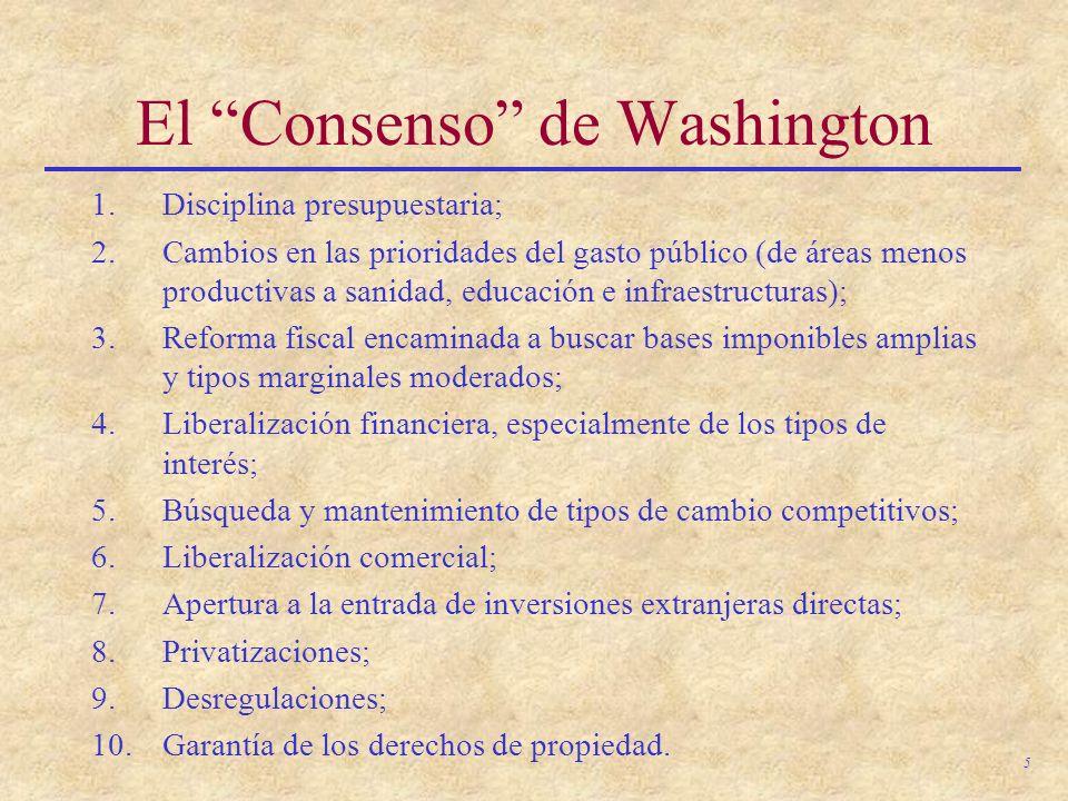 5 El Consenso de Washington 1.Disciplina presupuestaria; 2.Cambios en las prioridades del gasto público (de áreas menos productivas a sanidad, educaci