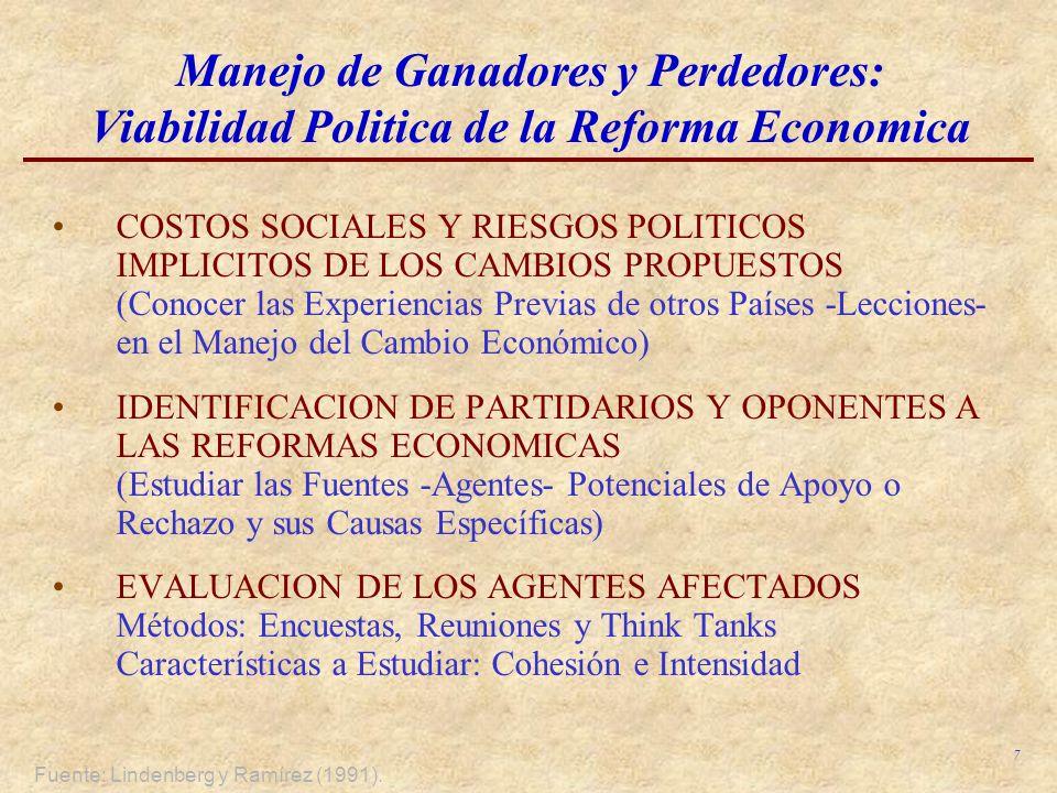 7 Manejo de Ganadores y Perdedores: Viabilidad Politica de la Reforma Economica COSTOS SOCIALES Y RIESGOS POLITICOS IMPLICITOS DE LOS CAMBIOS PROPUEST