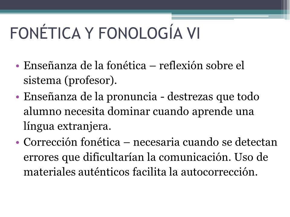 FONÉTICA Y FONOLOGÍA VI Enseñanza de la fonética – reflexión sobre el sistema (profesor).