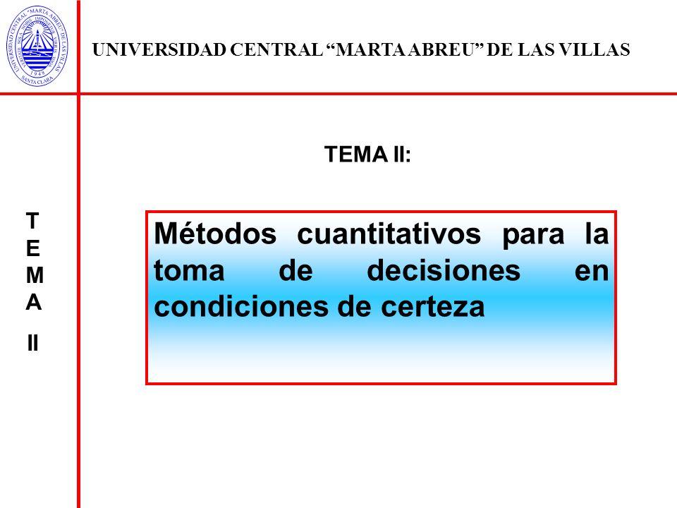 UNIVERSIDAD CENTRAL MARTA ABREU DE LAS VILLAS Se selecciona el criterio bajo el cual se desea decidir la mejor solución entre el número de alternativas que se presenta Se define el conjunto de restricciones que limitan la solución del problema PARADIGMA DECISIONAL MONOCRITERIO T E M A II