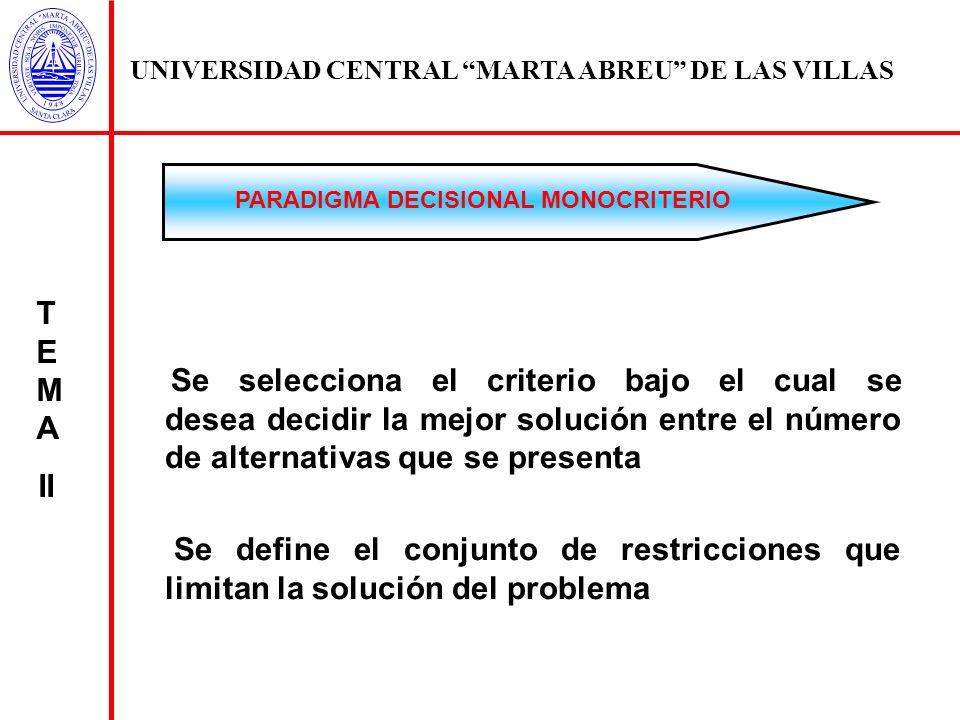 UNIVERSIDAD CENTRAL MARTA ABREU DE LAS VILLAS Se selecciona el criterio bajo el cual se desea decidir la mejor solución entre el número de alternativa