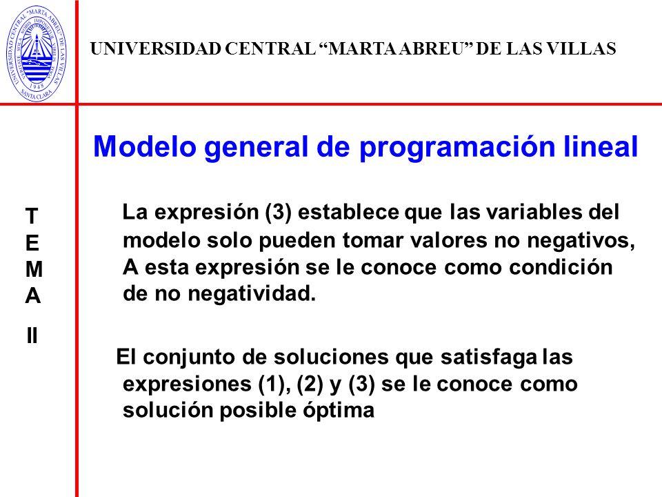 UNIVERSIDAD CENTRAL MARTA ABREU DE LAS VILLAS T E M A II La expresión (3) establece que las variables del modelo solo pueden tomar valores no negativo