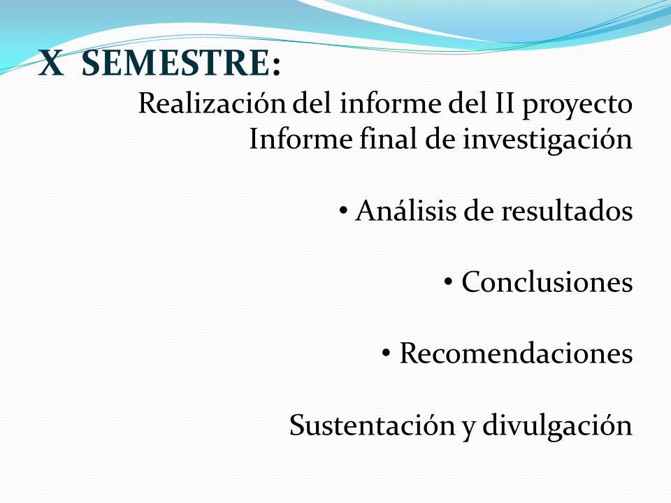 X SEMESTRE: Realización del informe del II proyecto Informe final de investigación Análisis de resultados Conclusiones Recomendaciones Sustentación y