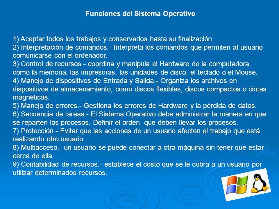 Funciones del Sistema Operativo 1) Aceptar todos los trabajos y conservarlos hasta su finalización. 2) Interpretación de comandos.- Interpreta los com
