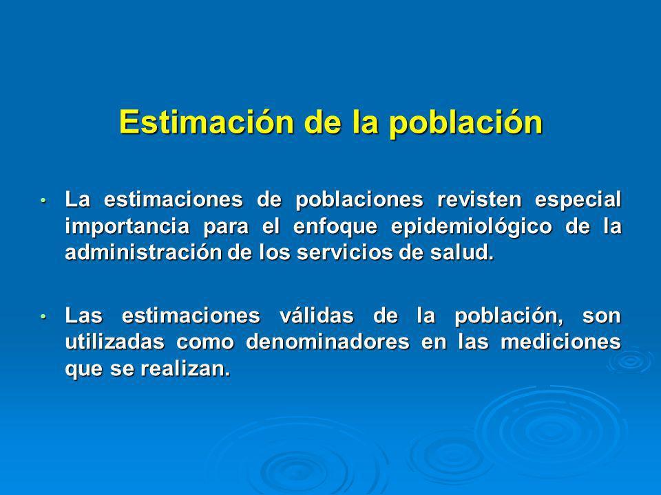 Estimación de la población La estimaciones de poblaciones revisten especial importancia para el enfoque epidemiológico de la administración de los ser