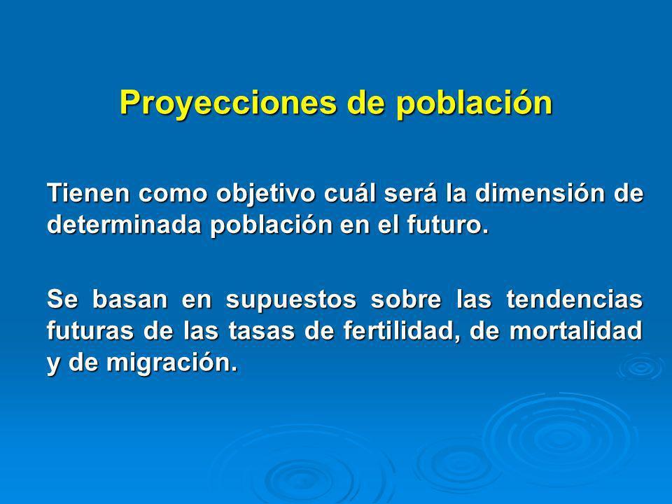 Proyecciones de población Tienen como objetivo cuál será la dimensión de determinada población en el futuro. Se basan en supuestos sobre las tendencia