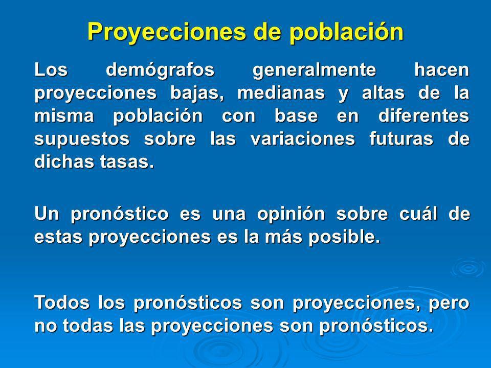 Proyecciones de población Los demógrafos generalmente hacen proyecciones bajas, medianas y altas de la misma población con base en diferentes supuesto
