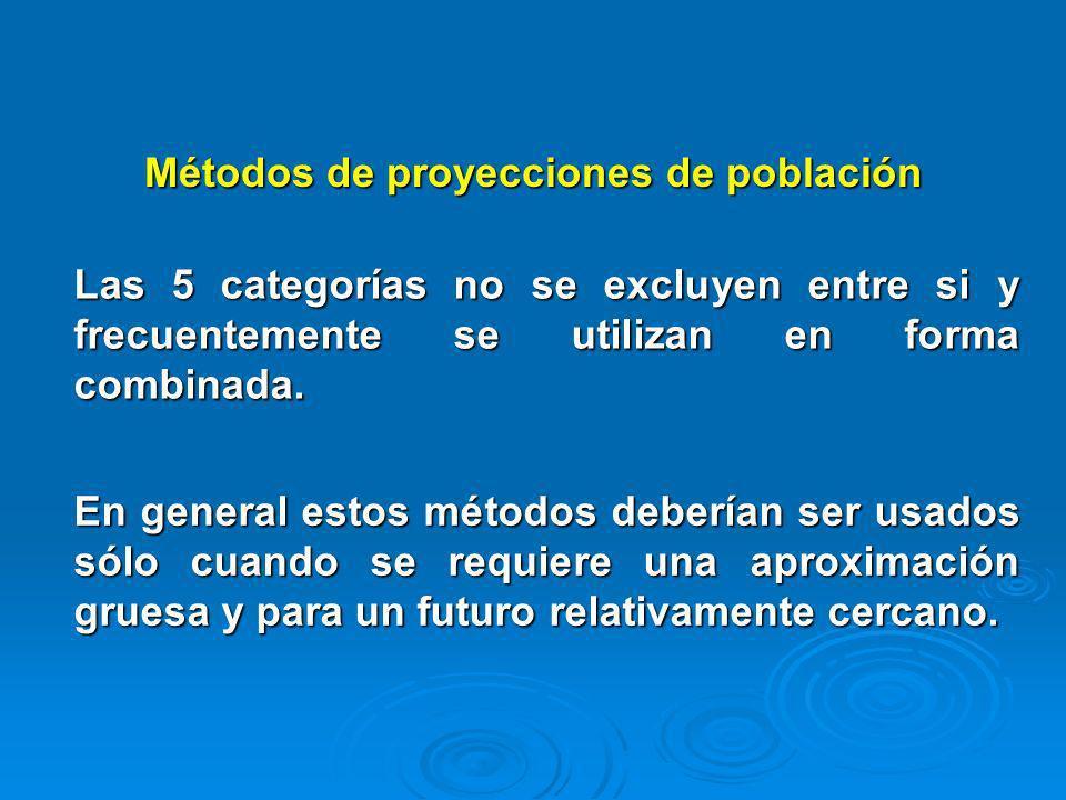 Métodos de proyecciones de población Las 5 categorías no se excluyen entre si y frecuentemente se utilizan en forma combinada. En general estos método