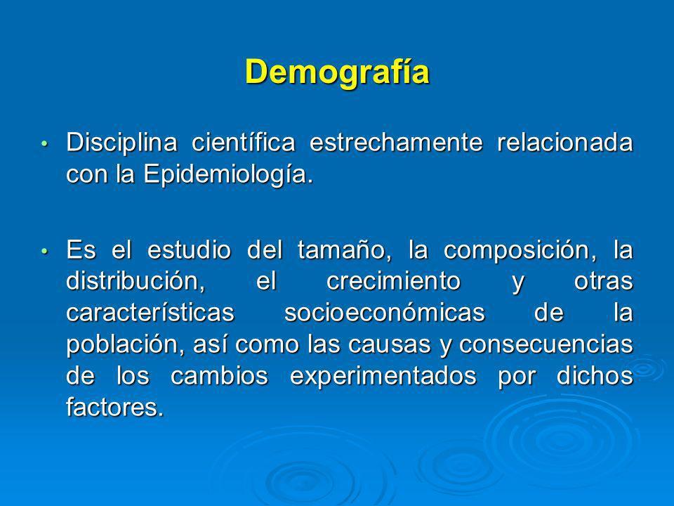 Demografía Disciplina científica estrechamente relacionada con la Epidemiología. Disciplina científica estrechamente relacionada con la Epidemiología.