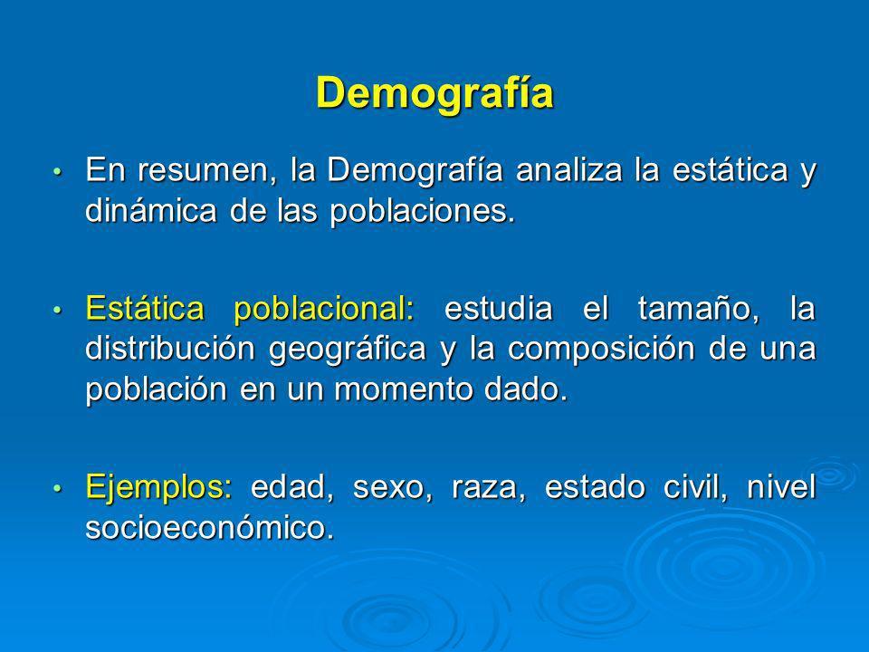 Demografía En resumen, la Demografía analiza la estática y dinámica de las poblaciones. En resumen, la Demografía analiza la estática y dinámica de la