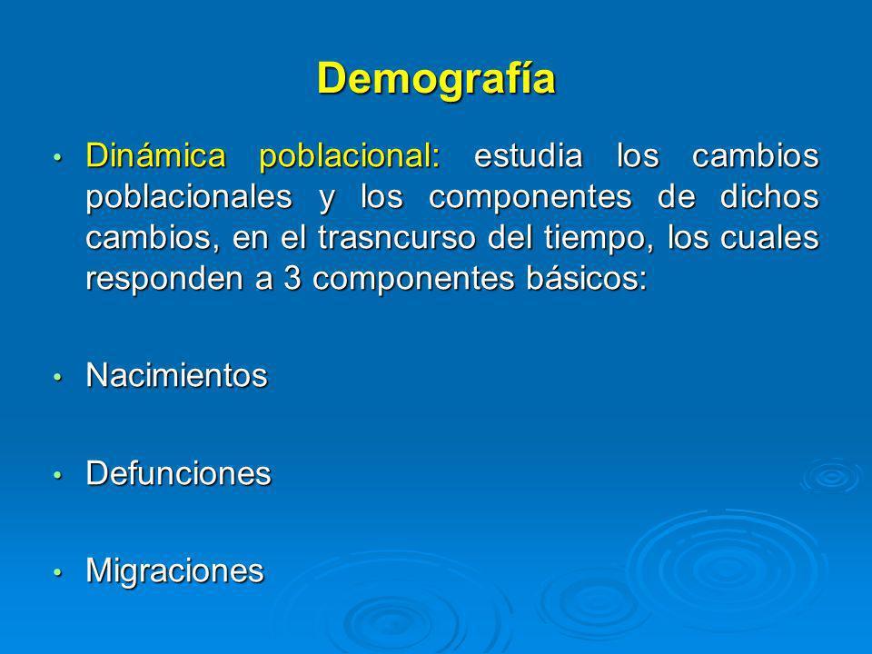 Demografía Dinámica poblacional: estudia los cambios poblacionales y los componentes de dichos cambios, en el trasncurso del tiempo, los cuales respon