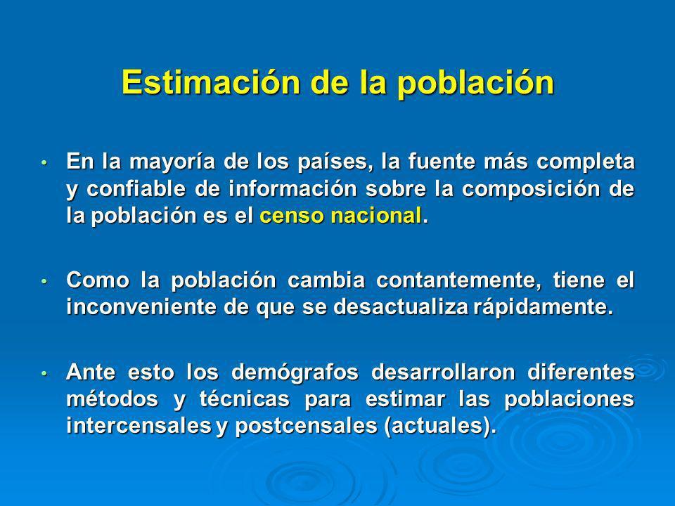 Estimación de la población En la mayoría de los países, la fuente más completa y confiable de información sobre la composición de la población es el c