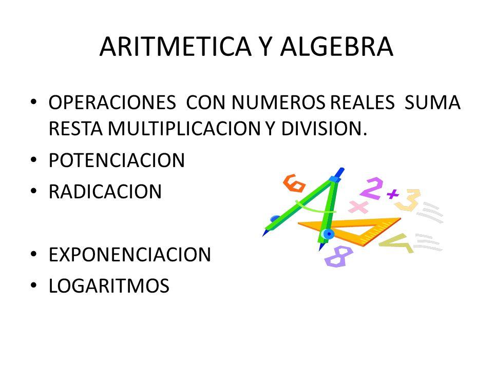 ARITMETICA Y ALGEBRA OPERACIONES CON NUMEROS REALES SUMA RESTA MULTIPLICACION Y DIVISION. POTENCIACION RADICACION EXPONENCIACION LOGARITMOS