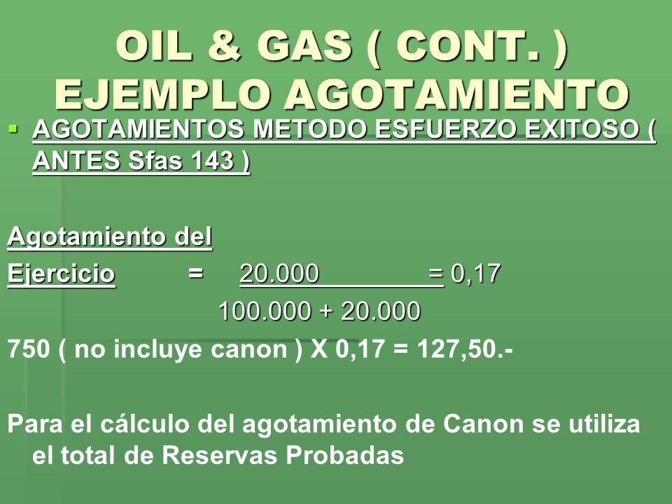 OIL & GAS ( CONT. ) EJEMPLO AGOTAMIENTO AGOTAMIENTOS METODO ESFUERZO EXITOSO ( ANTES Sfas 143 ) AGOTAMIENTOS METODO ESFUERZO EXITOSO ( ANTES Sfas 143