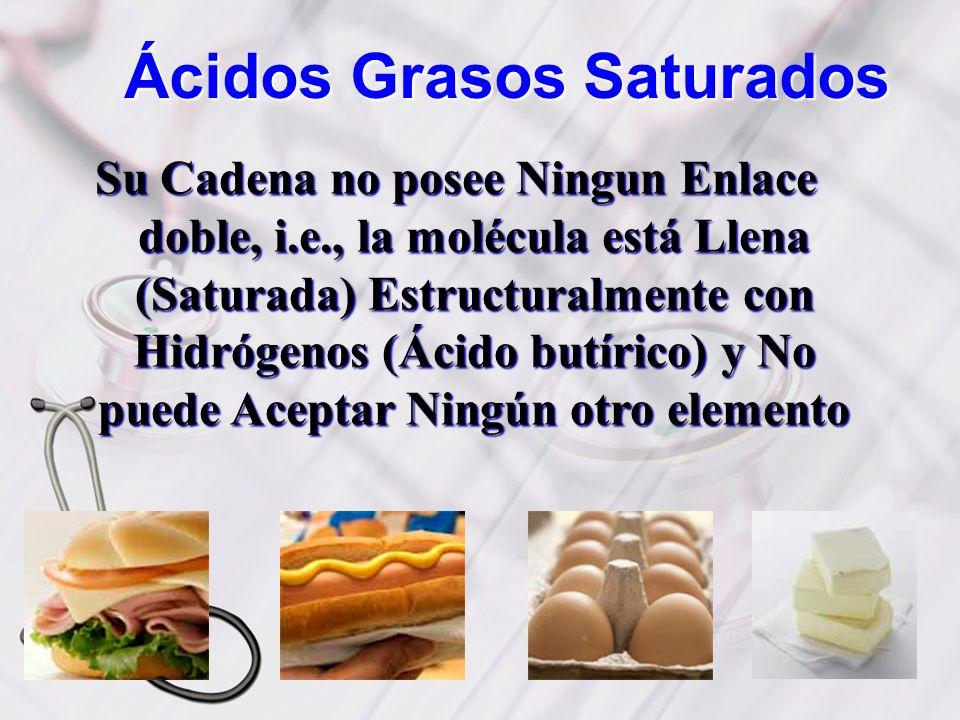 Ácidos Grasos Saturados Su Cadena no posee Ningun Enlace doble, i.e., la molécula está Llena (Saturada) Estructuralmente con Hidrógenos (Ácido butíric