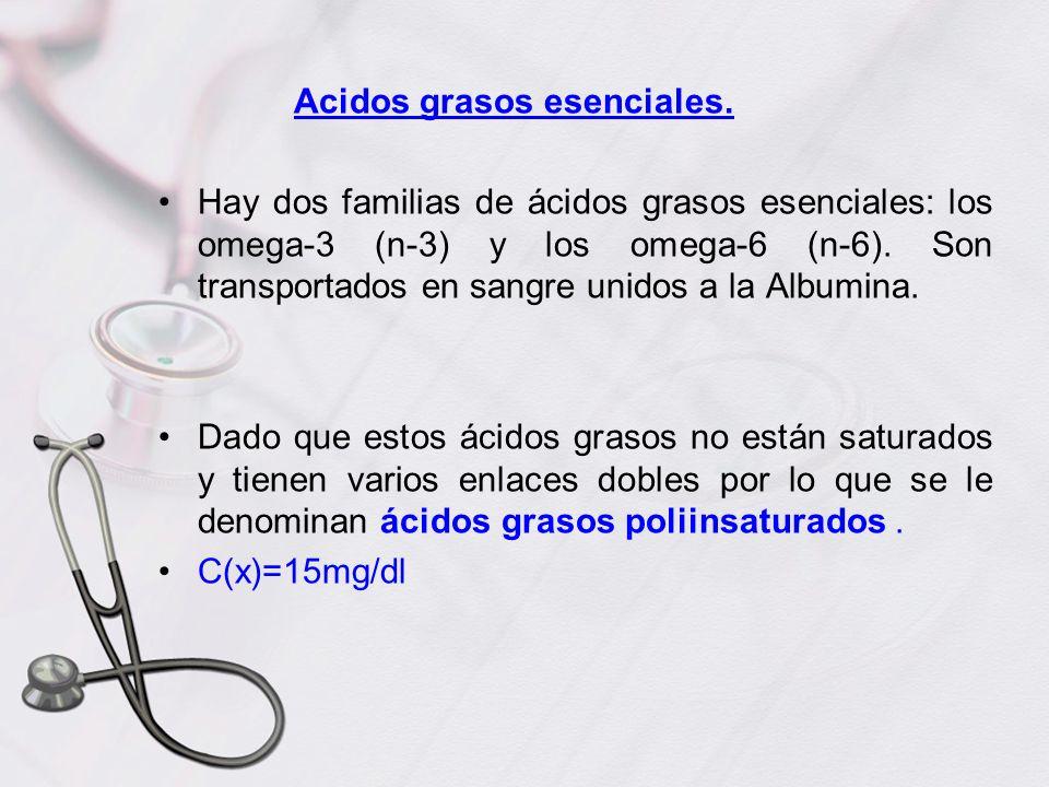 Acidos grasos esenciales. Hay dos familias de ácidos grasos esenciales: los omega-3 (n-3) y los omega-6 (n-6). Son transportados en sangre unidos a la