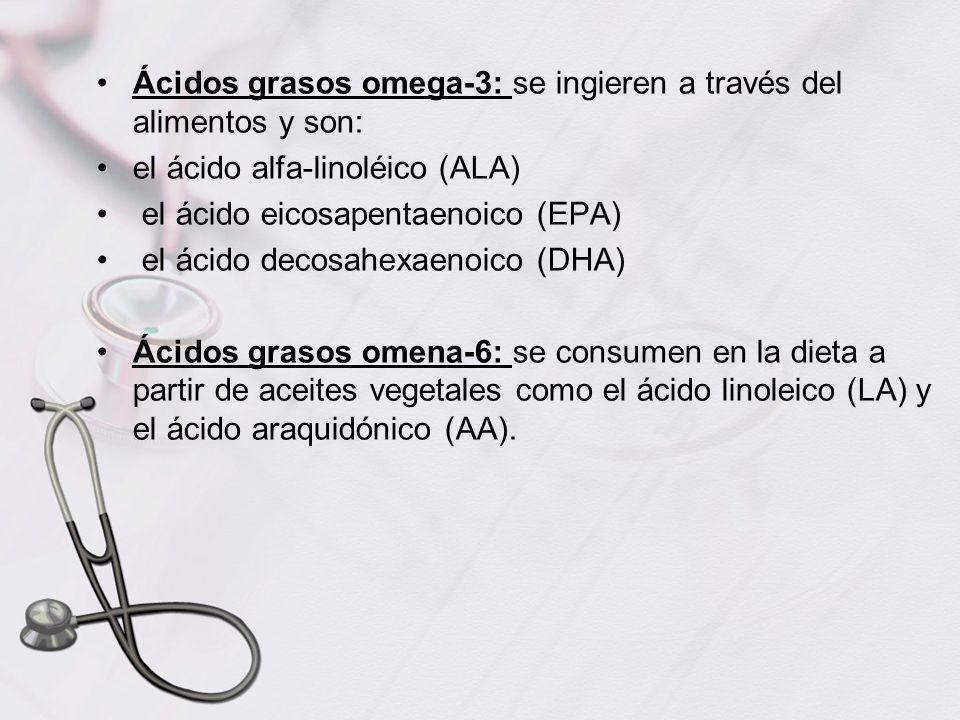 Ácidos grasos omega-3: se ingieren a través del alimentos y son: el ácido alfa-linoléico (ALA) el ácido eicosapentaenoico (EPA) el ácido decosahexaeno