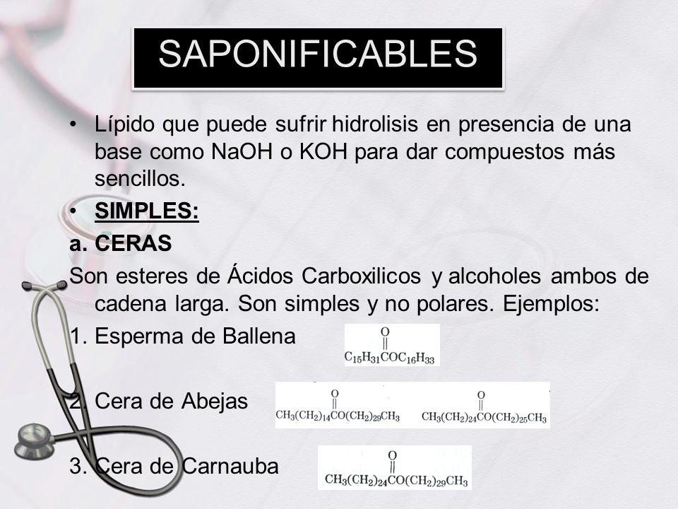 Lípido que puede sufrir hidrolisis en presencia de una base como NaOH o KOH para dar compuestos más sencillos. SIMPLES: a.CERAS Son esteres de Ácidos