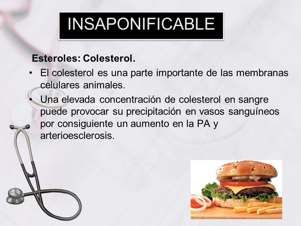 Esteroles: Colesterol. El colesterol es una parte importante de las membranas celulares animales. Una elevada concentración de colesterol en sangre pu