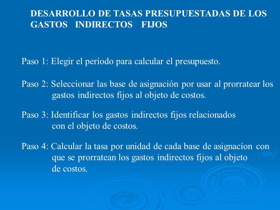 DESARROLLO DE TASAS PRESUPUESTADAS DE LOS GASTOS INDIRECTOS FIJOS Paso 1: Elegir el período para calcular el presupuesto. Paso 3: Identificar los gast