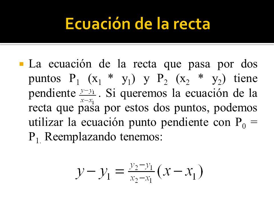 La ecuación de la recta que pasa por dos puntos P 1 (x 1 * y 1 ) y P 2 (x 2 * y 2 ) tiene pendiente. Si queremos la ecuación de la recta que pasa por