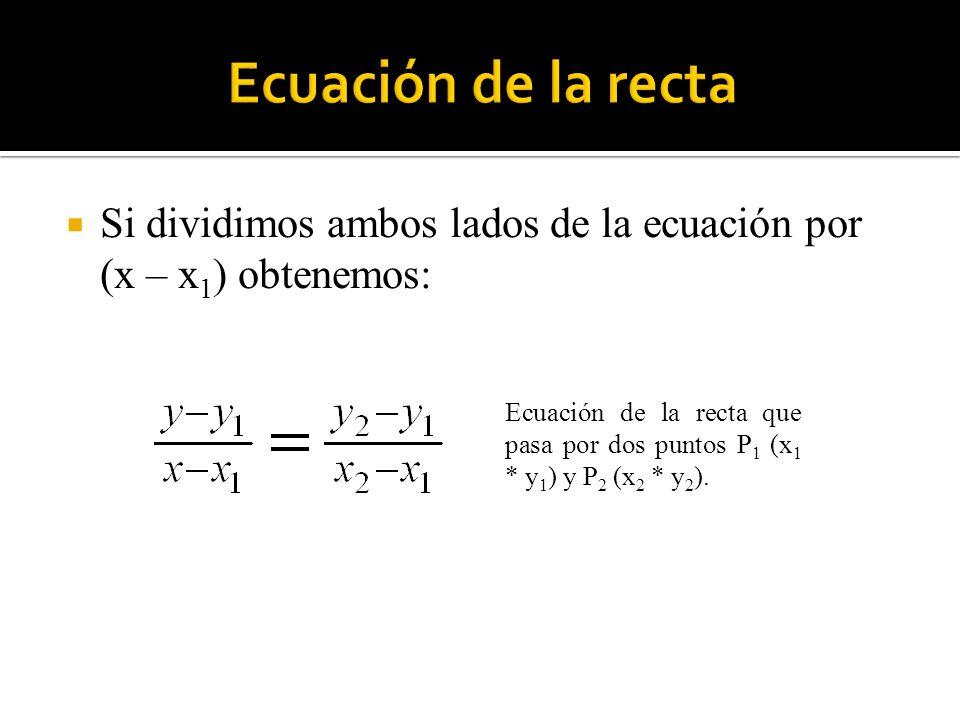 Por último, si observamos la recta de la figura, cuyas intersecciones con los ejes X e Y son los puntos (a, 0) y (0, b), respectivamente, de acuerdo con la ecuación de la recta que pasa por dos puntos, tenemos: Ecuación de Segmentos a: Intersección con el Eje X b: Intersección con el Eje Y