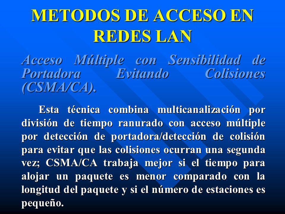 METODOS DE ACCESO EN REDES LAN Acceso Múltiple con Sensibilidad de Portadora Evitando Colisiones (CSMA/CA). Esta técnica combina multicanalización por