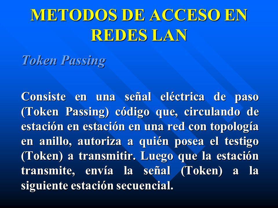METODOS DE ACCESO EN REDES LAN Token Passing Consiste en una señal eléctrica de paso (Token Passing) código que, circulando de estación en estación en