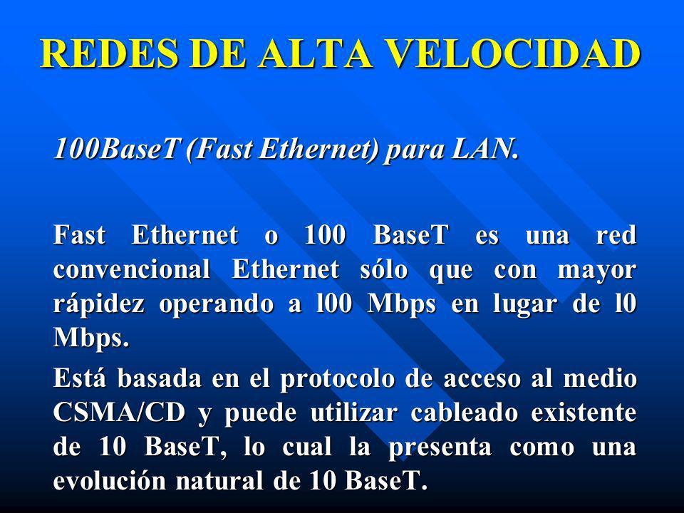 100BaseT (Fast Ethernet) para LAN. Fast Ethernet o 100 BaseT es una red convencional Ethernet sólo que con mayor rápidez operando a l00 Mbps en lugar
