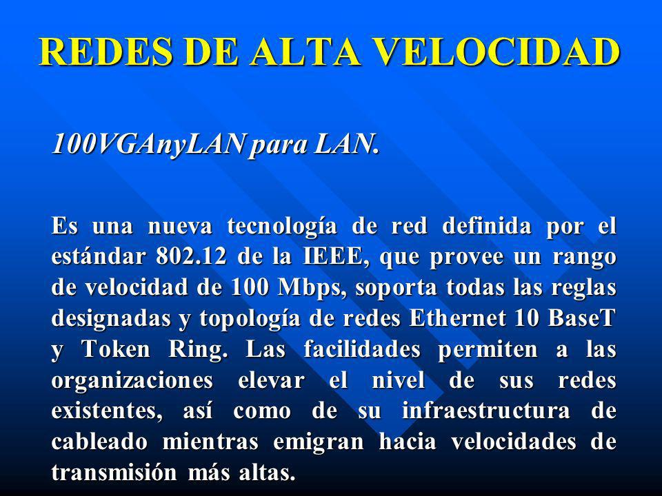 100VGAnyLAN para LAN. Es una nueva tecnología de red definida por el estándar 802.12 de la IEEE, que provee un rango de velocidad de 100 Mbps, soporta