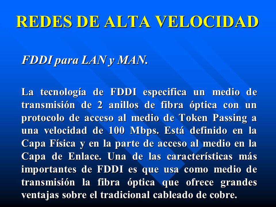 FDDI para LAN y MAN. La tecnología de FDDI especifica un medio de transmisión de 2 anillos de fibra óptica con un protocolo de acceso al medio de Toke