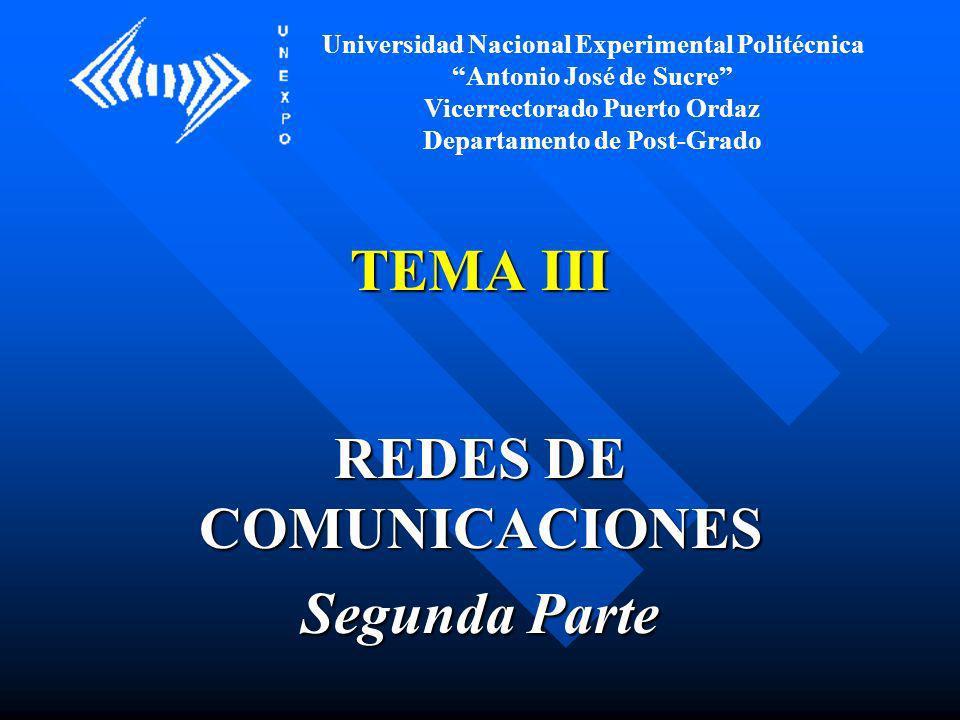 TEMA III REDES DE COMUNICACIONES Segunda Parte Universidad Nacional Experimental Politécnica Antonio José de Sucre Vicerrectorado Puerto Ordaz Departa