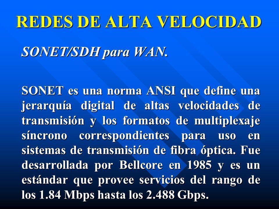 SONET/SDH para WAN. SONET es una norma ANSI que define una jerarquía digital de altas velocidades de transmisión y los formatos de multiplexaje síncro