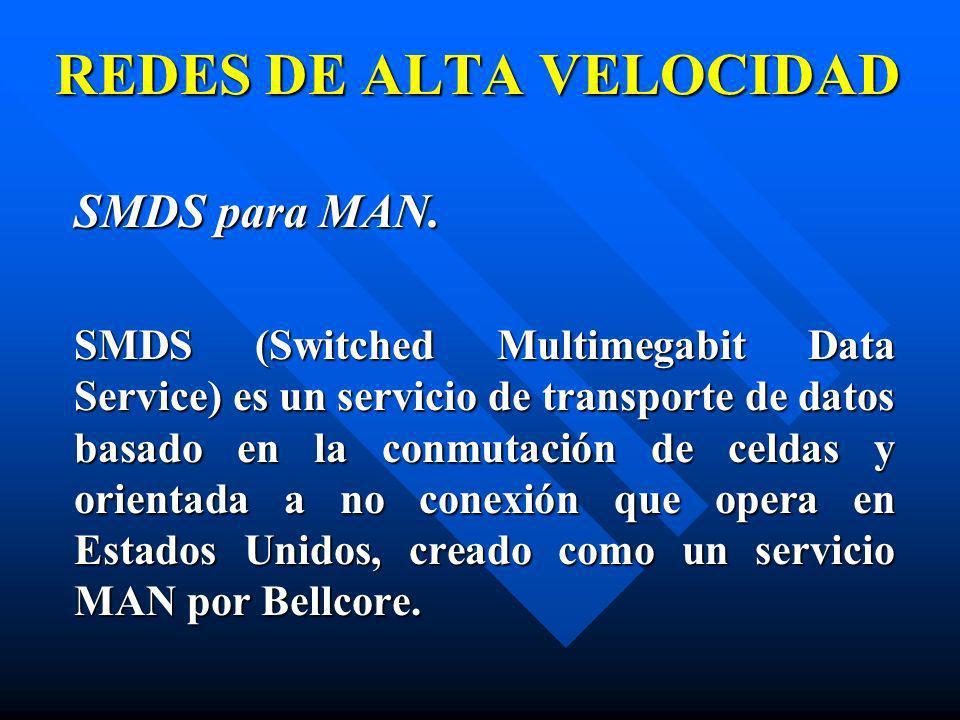 SMDS para MAN. SMDS para MAN. SMDS (Switched Multimegabit Data Service) es un servicio de transporte de datos basado en la conmutación de celdas y ori