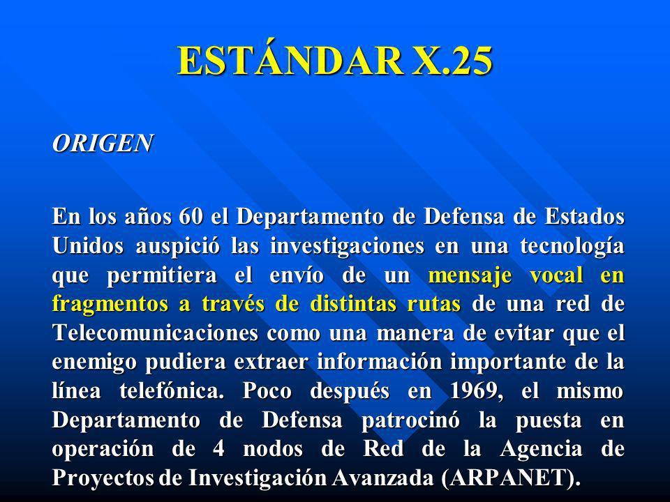 ESTÁNDAR X.25 ORIGEN En los años 60 el Departamento de Defensa de Estados Unidos auspició las investigaciones en una tecnología que permitiera el enví