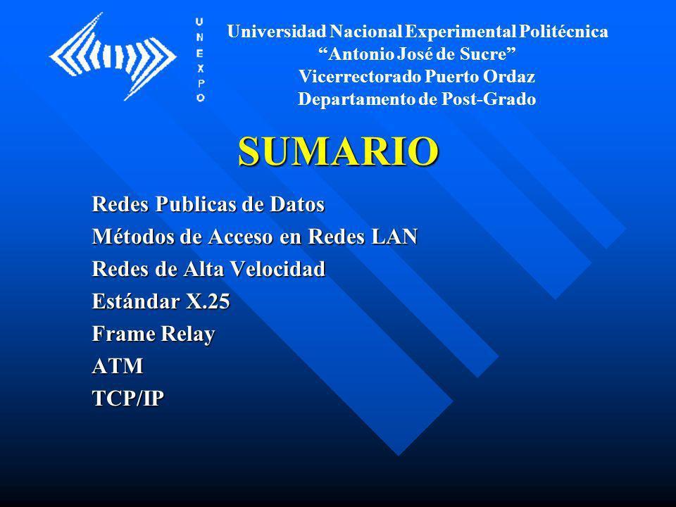 SUMARIO Redes Publicas de Datos Métodos de Acceso en Redes LAN Redes de Alta Velocidad Estándar X.25 Frame Relay ATMTCP/IP Universidad Nacional Experi