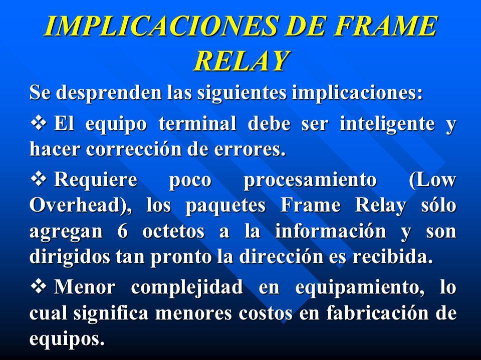 IMPLICACIONES DE FRAME RELAY Se desprenden las siguientes implicaciones: El equipo terminal debe ser inteligente y hacer corrección de errores. El equ