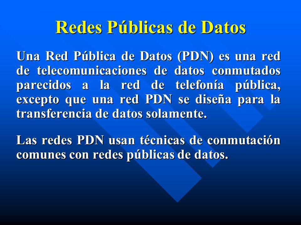 Redes Públicas de Datos Una Red Pública de Datos (PDN) es una red de telecomunicaciones de datos conmutados parecidos a la red de telefonía pública, e