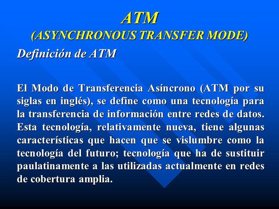 ATM (ASYNCHRONOUS TRANSFER MODE) Definición de ATM El Modo de Transferencia Asíncrono (ATM por su siglas en inglés), se define como una tecnología par