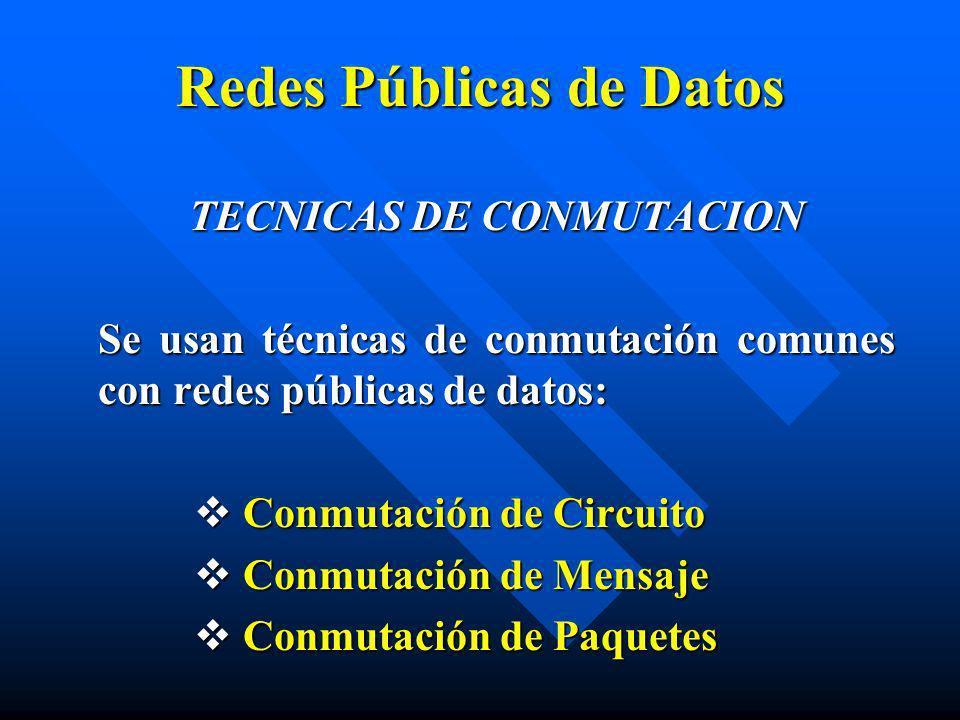 TECNICAS DE CONMUTACION Se usan técnicas de conmutación comunes con redes públicas de datos: Conmutación de Circuito Conmutación de Circuito Conmutaci