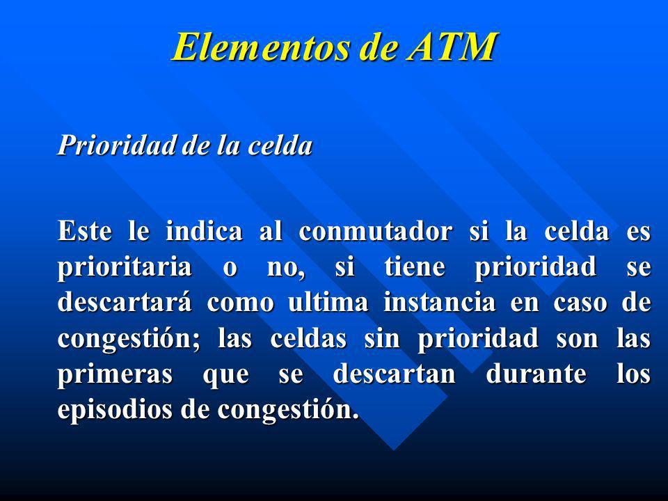 Elementos de ATM Prioridad de la celda Este le indica al conmutador si la celda es prioritaria o no, si tiene prioridad se descartará como ultima inst