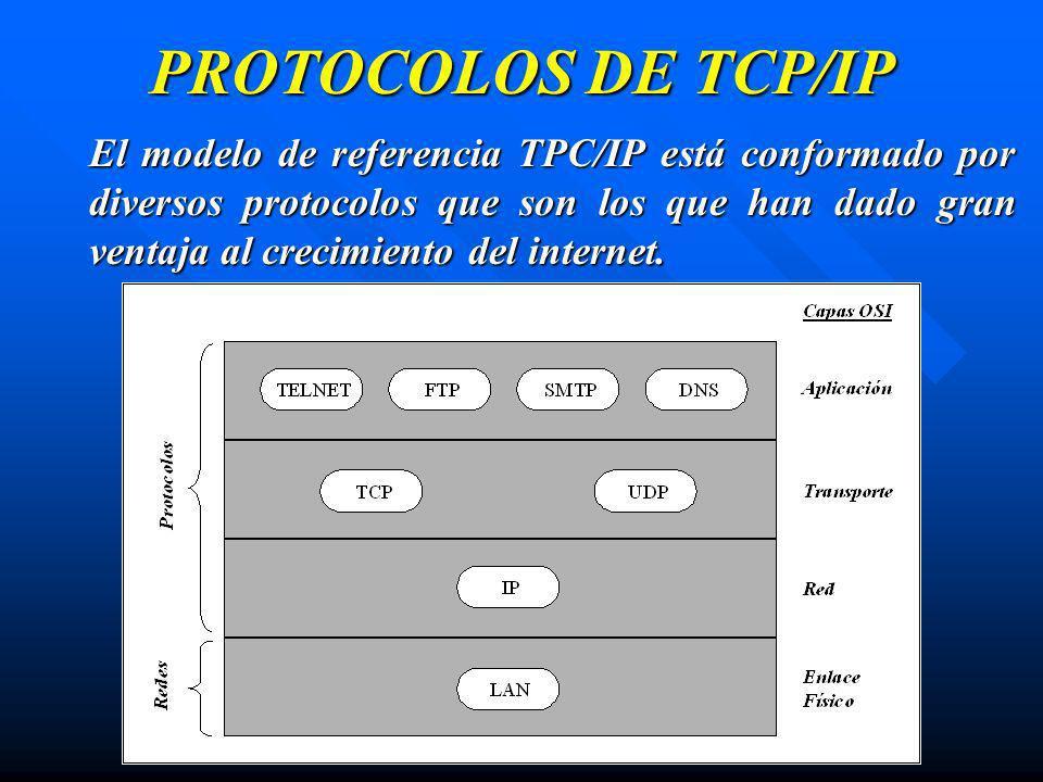 PROTOCOLOS DE TCP/IP El modelo de referencia TPC/IP está conformado por diversos protocolos que son los que han dado gran ventaja al crecimiento del i
