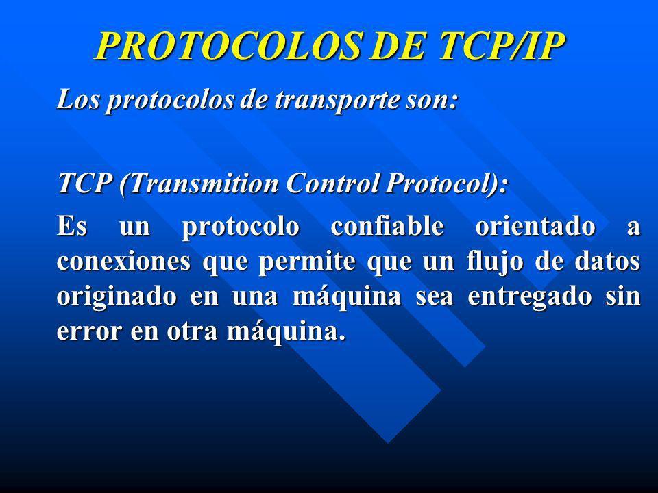 PROTOCOLOS DE TCP/IP Los protocolos de transporte son: TCP (Transmition Control Protocol): Es un protocolo confiable orientado a conexiones que permit