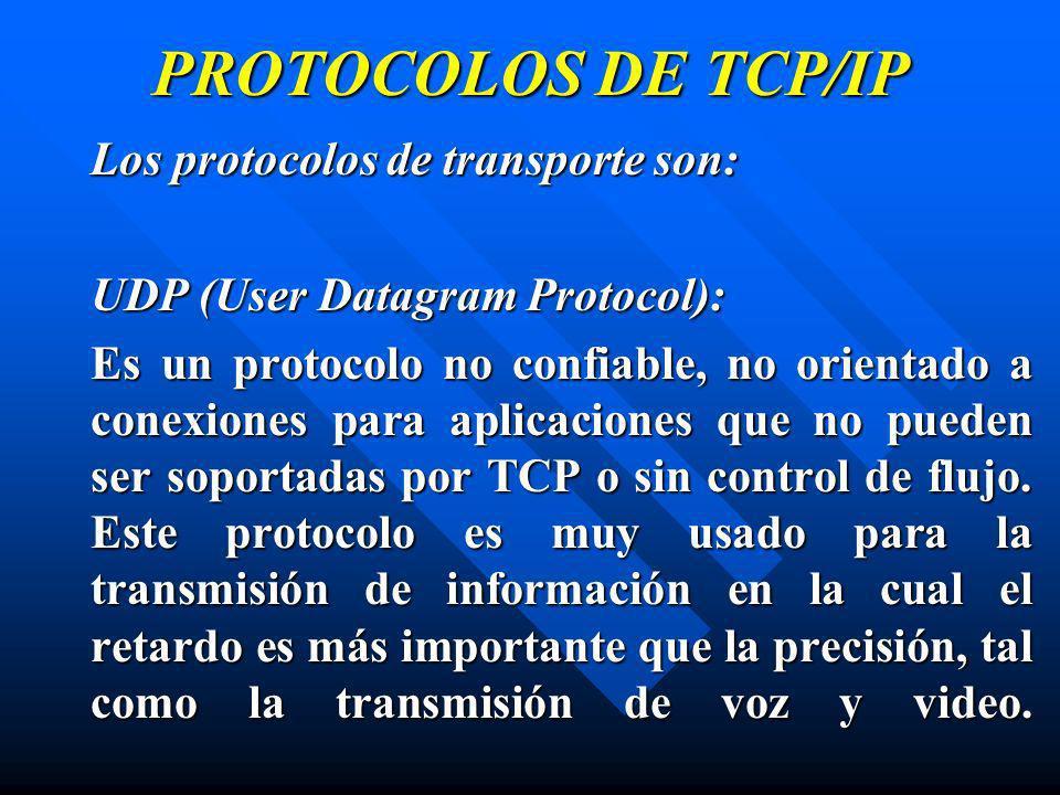 PROTOCOLOS DE TCP/IP Los protocolos de transporte son: UDP (User Datagram Protocol): Es un protocolo no confiable, no orientado a conexiones para apli