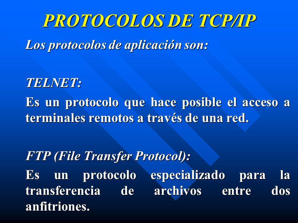 PROTOCOLOS DE TCP/IP Los protocolos de aplicación son: TELNET: Es un protocolo que hace posible el acceso a terminales remotos a través de una red. FT