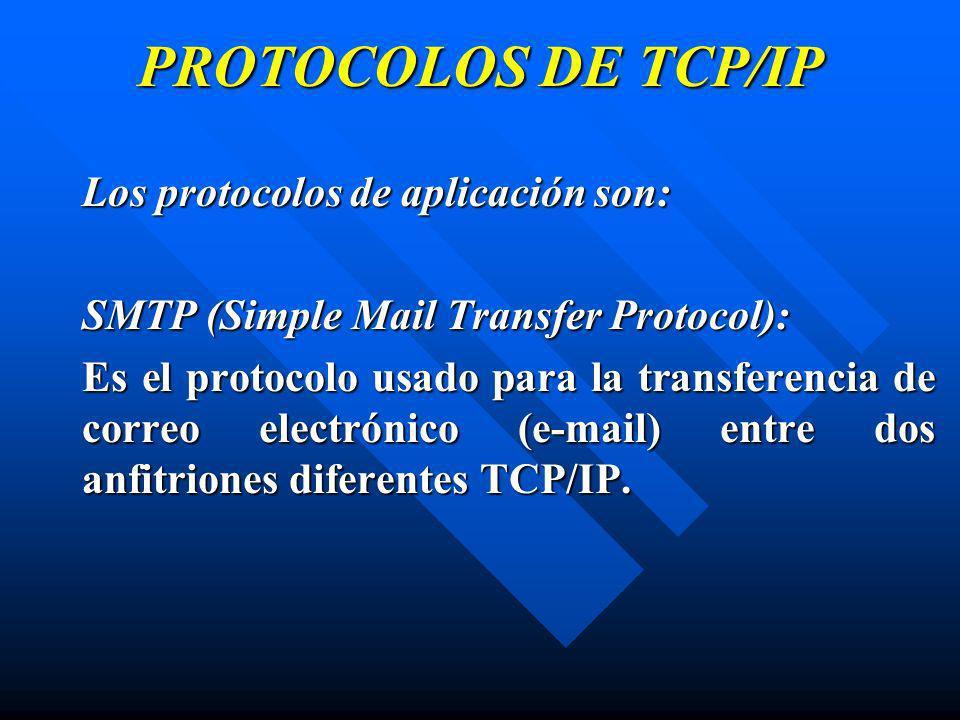 PROTOCOLOS DE TCP/IP Los protocolos de aplicación son: SMTP (Simple Mail Transfer Protocol): Es el protocolo usado para la transferencia de correo ele