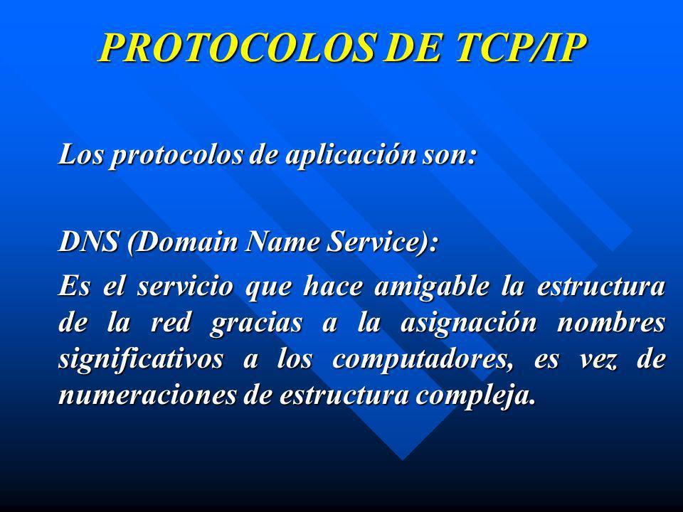 PROTOCOLOS DE TCP/IP Los protocolos de aplicación son: DNS (Domain Name Service): Es el servicio que hace amigable la estructura de la red gracias a l