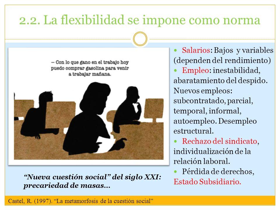 2.2. La flexibilidad se impone como norma Salarios: Bajos y variables (dependen del rendimiento) Empleo: inestabilidad, abaratamiento del despido. Nue