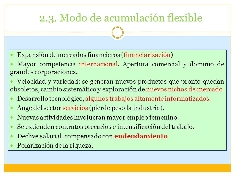 2.3. Modo de acumulación flexible Expansión de mercados financieros (financiarización) Mayor competencia internacional. Apertura comercial y dominio d